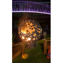 """Кованая стальная сфера для огня с  уличным мангалом """"Звёзды"""""""
